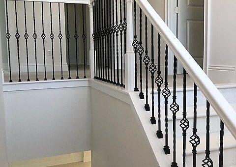 wrought iron balustrades white staircase