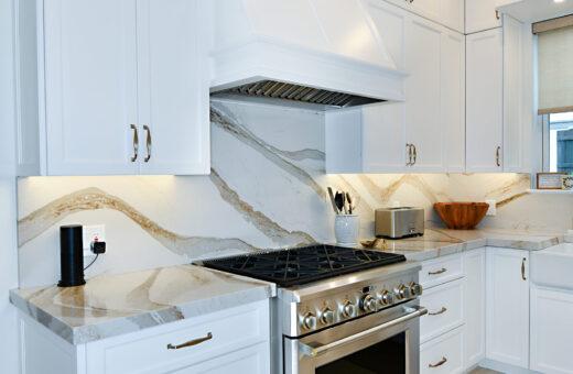 White Kitchen with gold accents Johanna G Seldes Designer