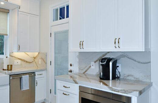 White Kitchen with microwave drawer Johanna G Seldes Designer