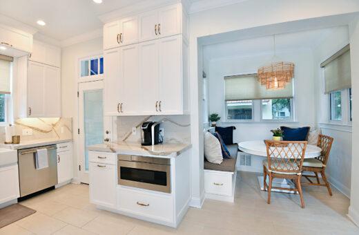 White Kitchen and breakfast nook Johanna G Seldes Designer